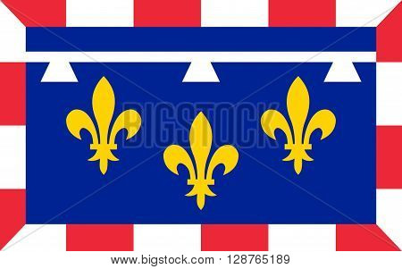 Flag of Centre-Val de Loire is one of the 18 regions of France. It straddles the middle Loire Valley in the interior of the country. The administrative capital is Orleans but the largest city is Tours
