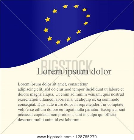 European Union flag background. Blue flag, yellow stars on light pink background, grey Lorem ipsum, vector
