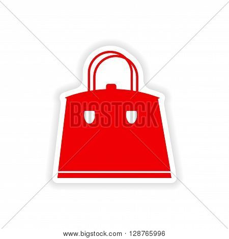 paper sticker on white background ladies handbag