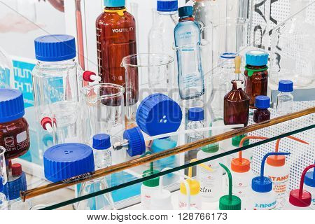 MOSCOW RUSSIA - April 122016: 14th International Exhibition of laboratory equipment and chemical reagents in Moscow.Medical and laboratory equipment at the exhibition