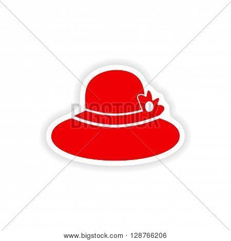 paper sticker on white background lady hat