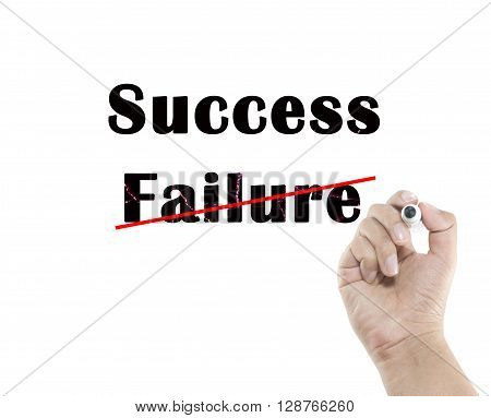 Hand writing the word success and failure