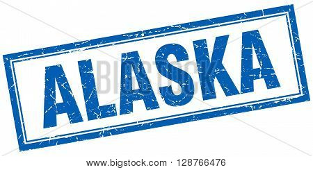 Alaska Blue Square Grunge Stamp On White