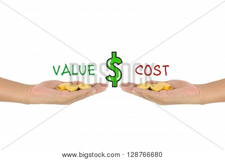 value vs cost comparison with gold coins on hand