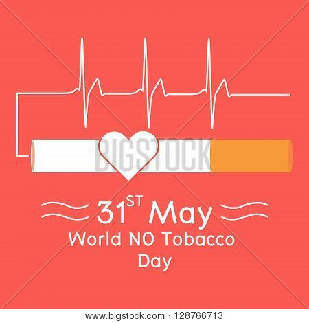 Heart in cigarette with heartbeat signal on red background. Vector illustration flat design World No Tobacco Day concept.