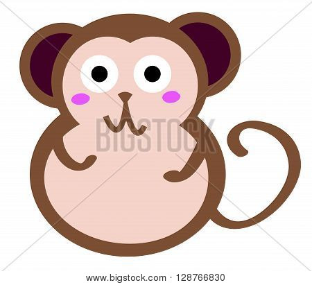 A little smiley monkey in white background