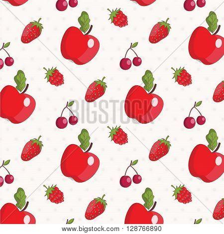 Seamless pattern of apples cherries strawberry raspberry .Vector.