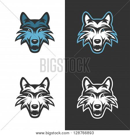 Wolf mascot for sport teams. Monochrome trendy design element for t-shirt prints, posters, logos and labels. Vintage vector illustration.
