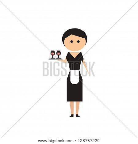 Flat web icon on white background girl waitress