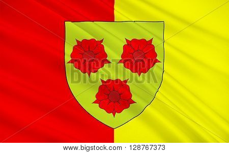 Flag of Grenoble is a city in southeastern France at the foot of the French Alps where the river Drac joins the Isere. Located in the Rhone-Alpes region Grenoble is the capital of the department of Isere