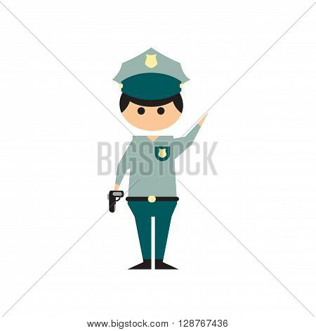 Flat web icon on white background police officer