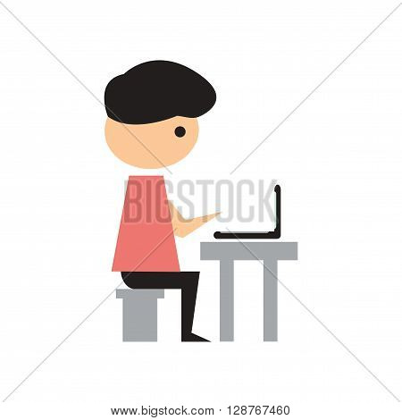 Flat web icon on white background Man programmer