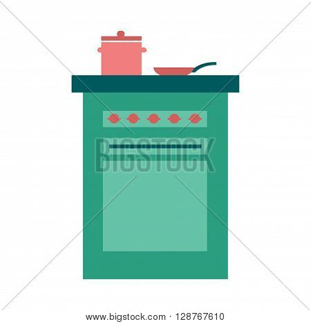 Flat web icon on  white background stove and pans