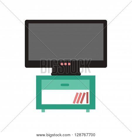Flat web icon on  white background plasma TV