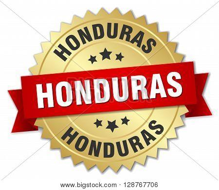Honduras round golden badge with red ribbon
