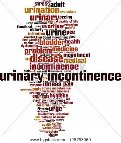 Urinary incontinence word cloud concept. Vector illustration