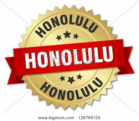 Honolulu round golden badge with red ribbon