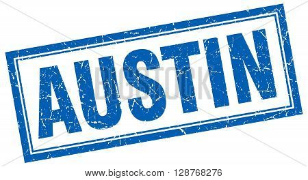 Austin Blue Square Grunge Stamp On White