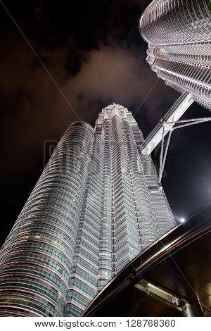 KUALA LUMPURMALAYSIA - FEBRUARY 29: Petronas twin towers on February 29 2016 in Kuala Lumpur Malaysia. A night scene of twin towers.