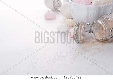 Homemade Colored Meringue, Sugar And Eggs