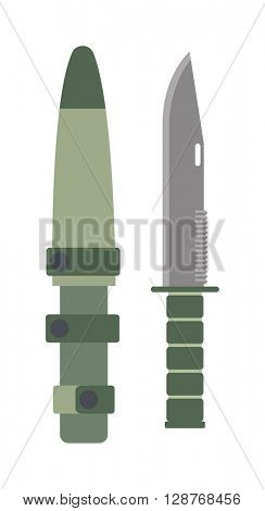 Military knife vector illustration.