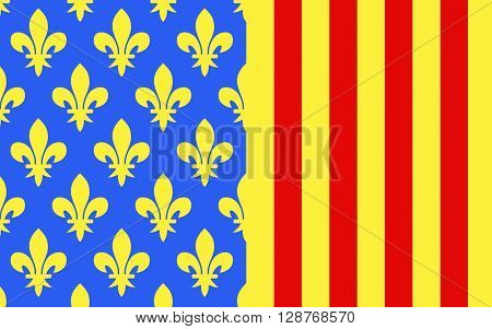 Flag of Lozere is a department in the region of Languedoc-Roussillon-Midi-Pyrenees in southern France near the Massif Central. It is named after Mont Lozere.