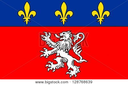 Flag of Lyon or Lyons is a city in east-central France in the Auvergne-Rhone-Alpes region situated between Paris and Marseille.