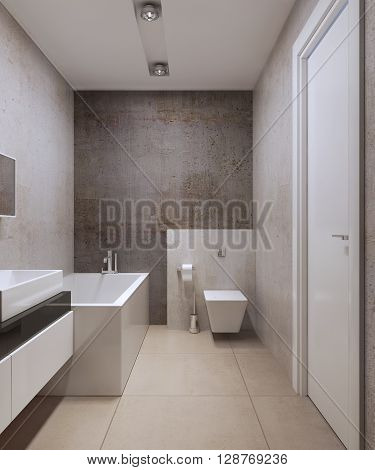 Bathroom minimalist style. Wall toilet on the ledge white colored furniture. Modern ceiling lamps marble tiles flooring. 3D render