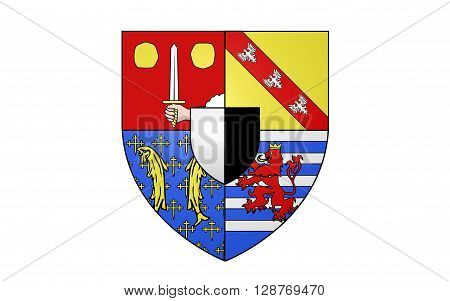 Flag of Moselle is a department in the east of France named after the river Moselle.