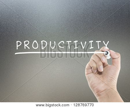 productivity text on glass board with hand writing