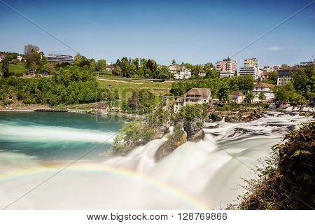 Wonderful time exposure of rhine falls in Switzerland