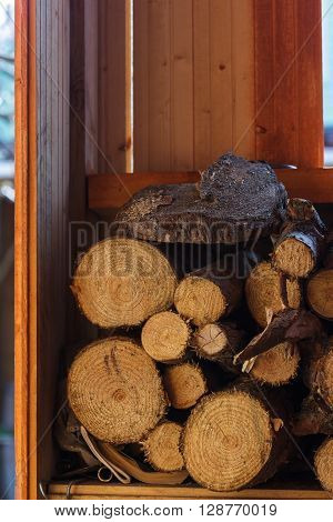 stack of firewood. cut logs stacked in a neat pile