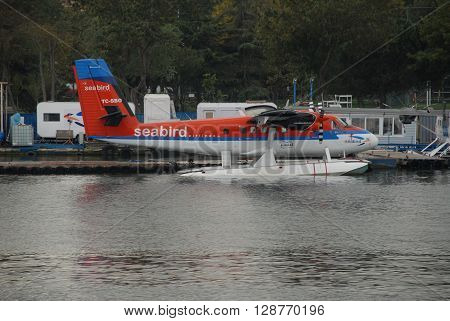 ISTANBUL/TURKEY-OCTOBER 14: Twin Otter Floatplane at the Halic Sea Terminal. October 14, 2014-Istanbul/Turkey
