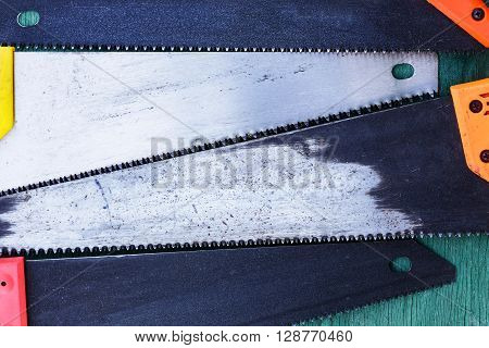 Metallic Saws For Construction Work. Tools For Carpentry Work. Backgroun