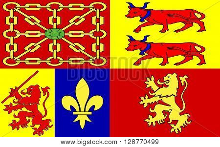 Flag of Pyrenees-Atlantiques is a department in the region Aquitaine-Limousin-Poitou-Charentes southwestern France