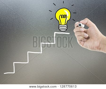 step to get idea with light bulb from drawing