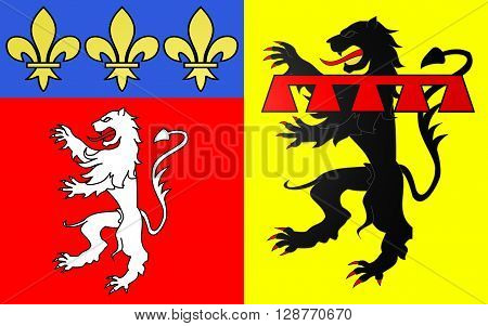 Flag of Rhone is a French department located in the central Eastern region of Auvergne-Rhone-Alpes. It is named after the river Rhone