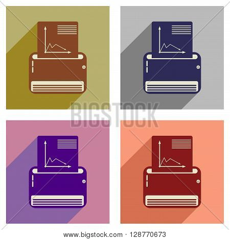 Concept of flat icons with  long shadow fax machine