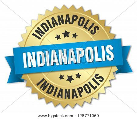 Indianapolis round golden badge with blue ribbon