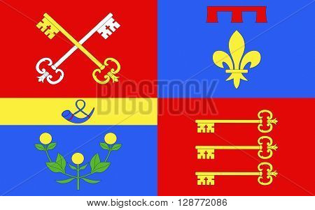 Flag of Vaucluse is a department in the southeast of France named after the famous spring the Fontaine-de-Vaucluse