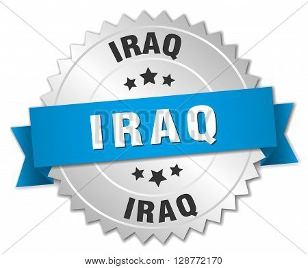Iraq round silver badge with blue ribbon