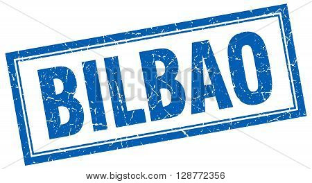 Bilbao Blue Square Grunge Stamp On White