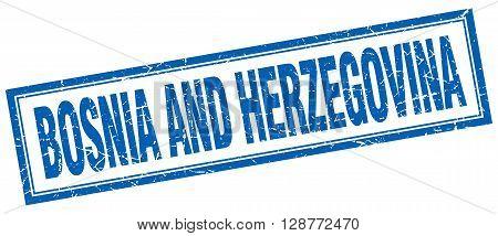 Basnia And Herzegovina Blue Square Grunge Stamp On White