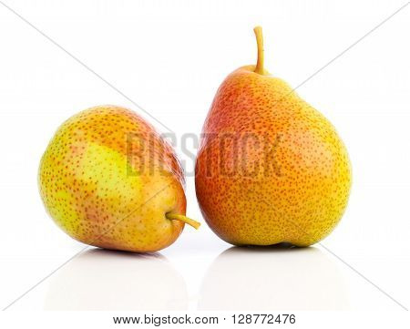 Two yellow pears isolated on white background