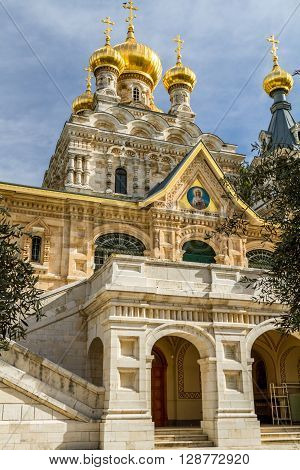 JERUSALEM ISRAEL - JANUARY 5: The Church of Mary Magdalene or Russian Ortodox Convent of St. Mary Magdalene Mount of Olives in Jerusalem Israel on January 5 2016