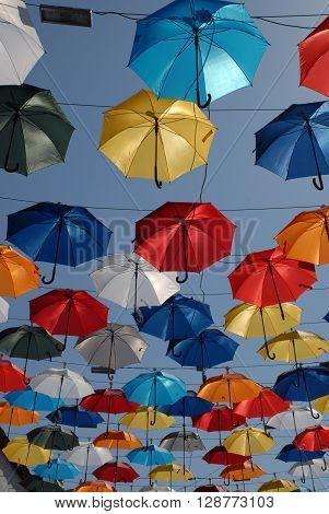 ANTALYA/TURKEY-OCTOBER 18, 2014: Colorful umbrellas over the touristic street of Antalya City. October 18, 2014-Antalya/Turkey