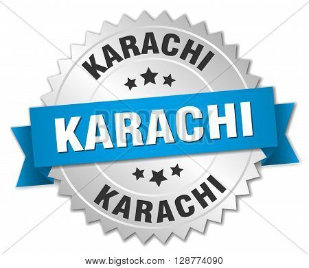 Karachi round silver badge with blue ribbon