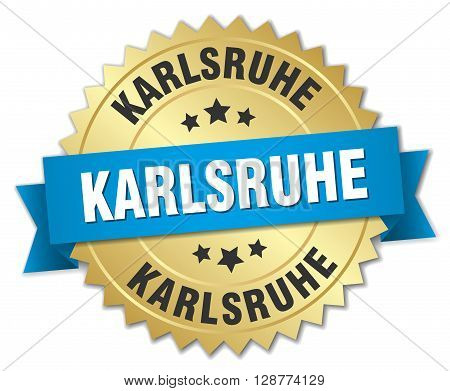Karlsruhe round golden badge with blue ribbon