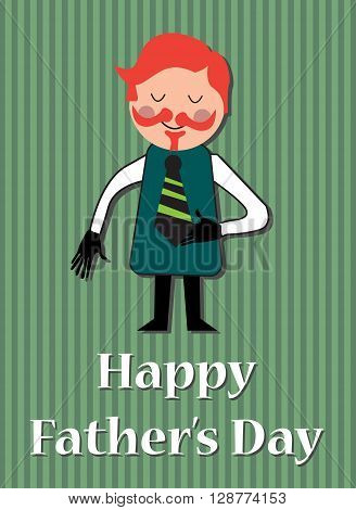 Man isolated on a background with green stripes and the text Happy Father's Day written below with white letters