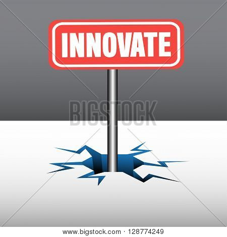 Abstract colorful illustration with a red plate with the text innovate coming out from an ice crack
